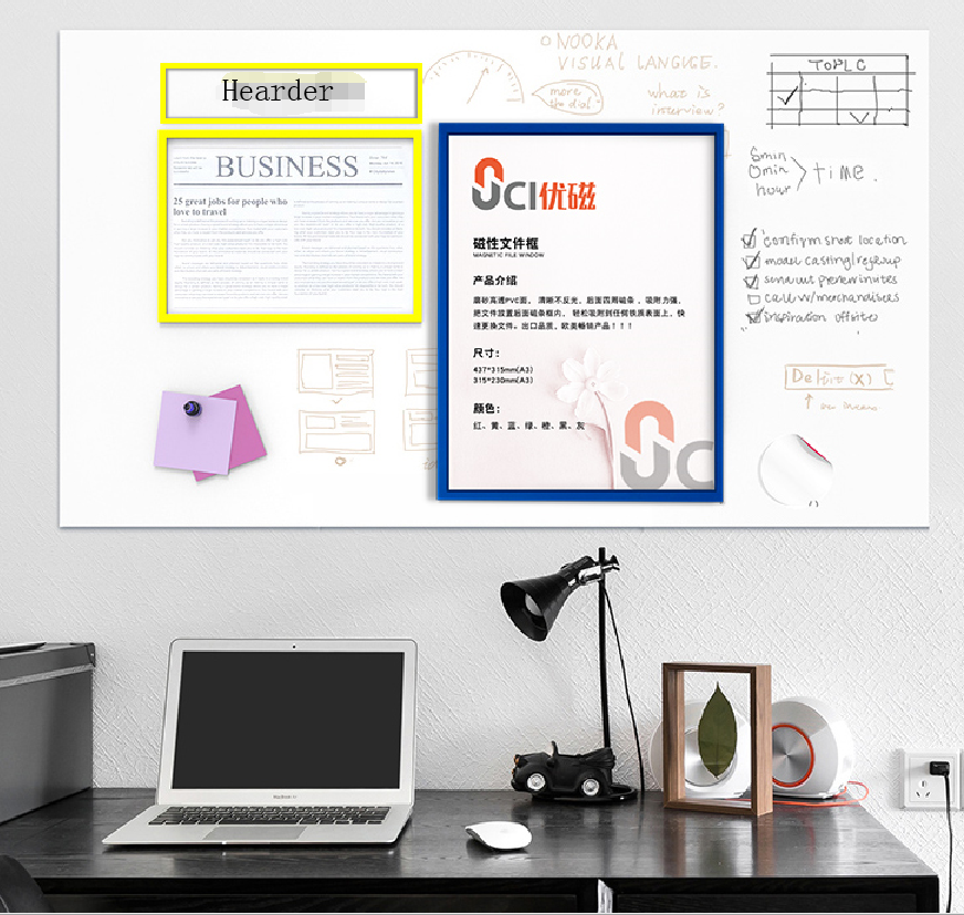 Best Selling High Quality A5 A4 A3 Magnetic File Folder / Document Display Folder with Multi Color Frame