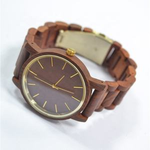 Shenzhen Factory OEM Private Logo Gold Chapter Insert Ring Mens Quartz Wooden Watch in Wristwatches
