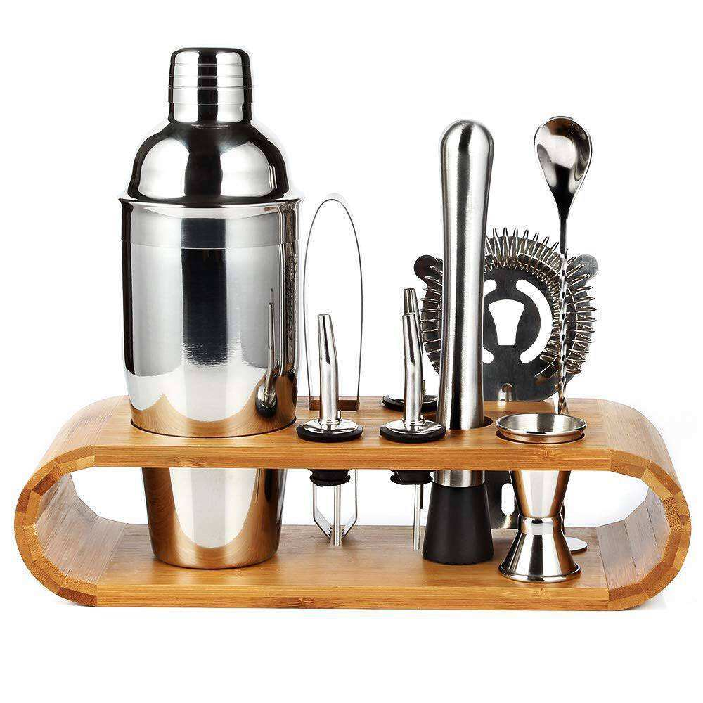 Factory direct sale 9-piece cocktail shaker with oval wooden base bar bartending tool set