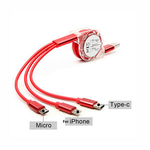 Free Shipping Sample Universal Retractable 3in1 Multi Charging Charger Cable 3 In 1 Flexible Usb Cable For Mobile Phone
