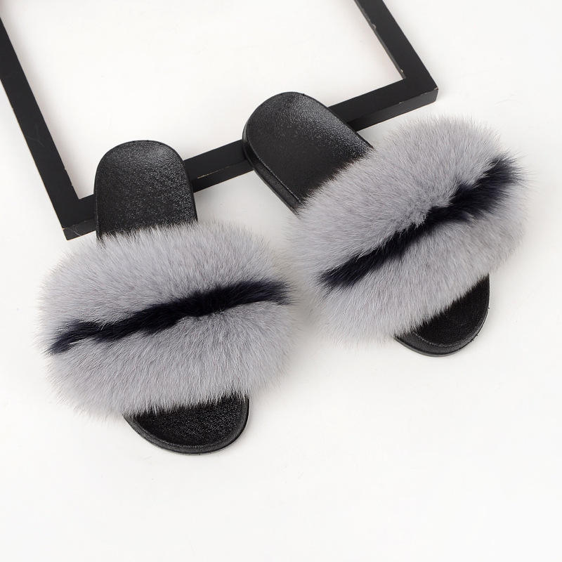 wholesale raccoon fluffy slippers sandals house fur slides footwear for women