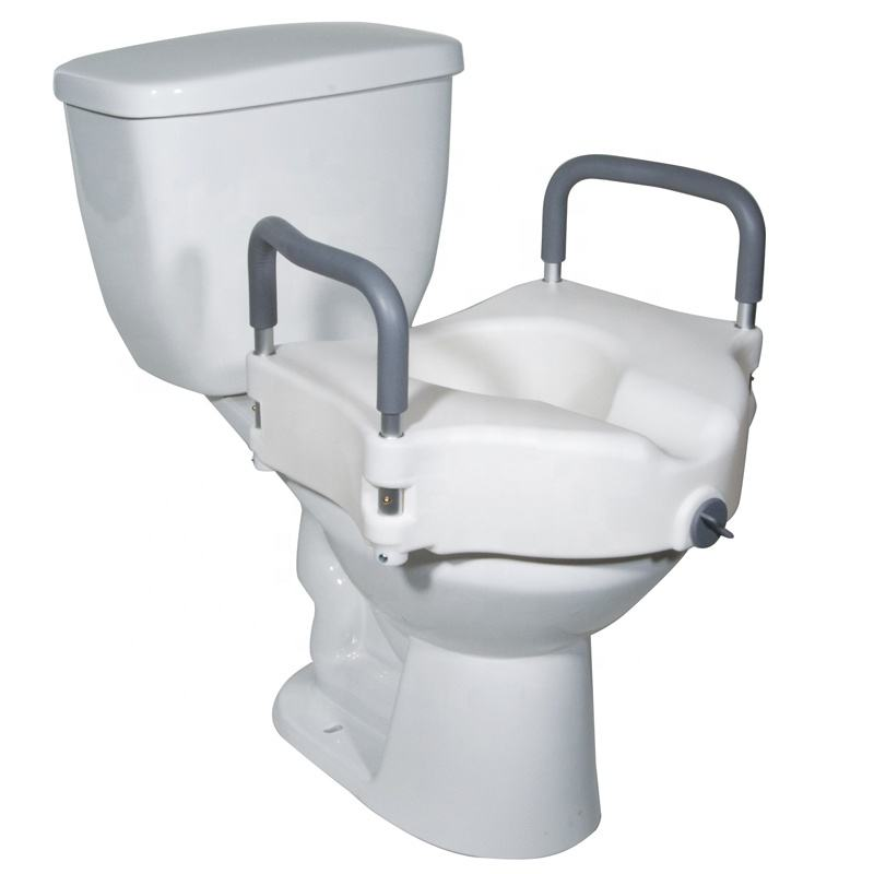 Raised toilet seat with armrest Blow-Moulding Elevated Nursing Soft Raised Toilet Seat