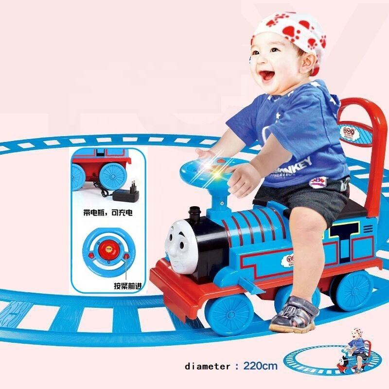 Powerful Wheels Train with Track Ride on car Electric rail car child baby walker can sit stroller boy toy