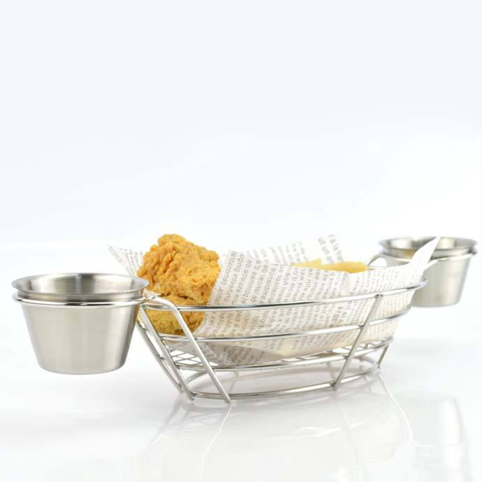 Oval wire bread basket storage - metal bread holder chip server for restaurant and home-with two 4OZ sauce cups-stainless steel