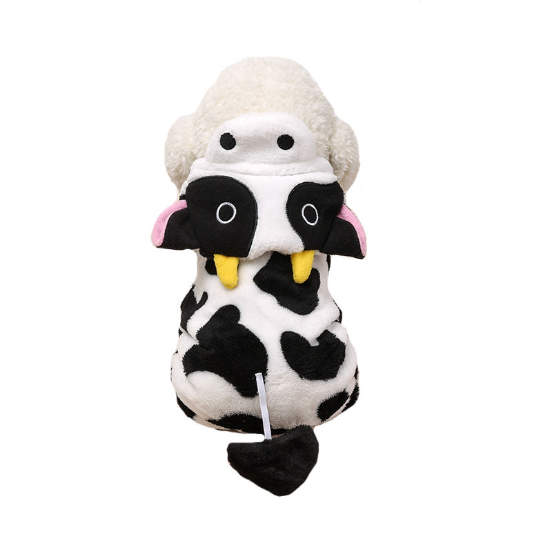 Amazon New Cow Winter Hoodies Pet Cosplay Dog Clothes Mascot Costumes