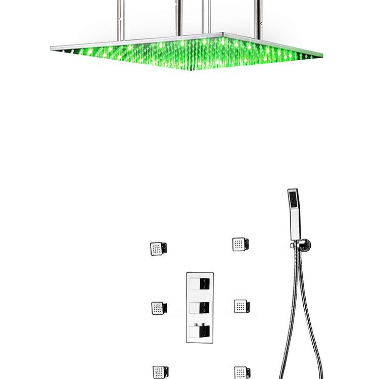 Square LED Thermostatic Bath Shower Mixer Faucet Taps Rainfall Shower Head Bathroom Body Massage Jets Set For Bath Luxury T