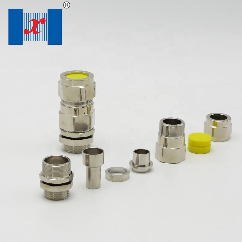 M20*1.5 Single Compression Explosion Proof Cable Gland HX-EX-3 Nickel Plated Brass Armored Cable Gland