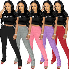 S8520-2021 spring fashion ruched stacked pants sweatpants women joggers pleated trousers