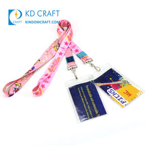 Gratis Monster Id Kaarthouder Neck Strap Breakaway Dye Sublimatie Gedrukt Cartoon Anime Roze Polyester Lanyard Met Logo Custom