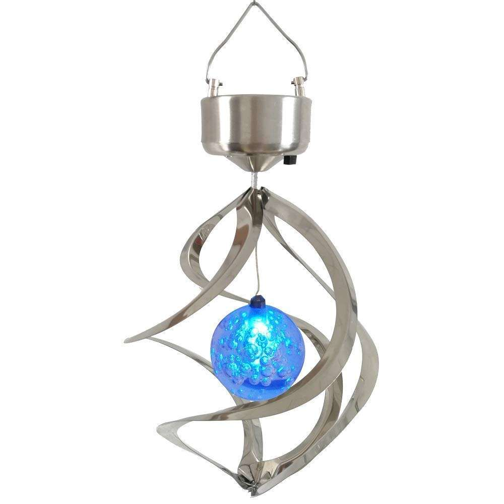 1 Year Warranty Amazon Bestseller Tree Decor Hanging Spiral Spinner Solar Wind Chime with Glowing Magic Ball Garden Light