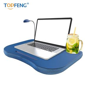 Laptop Lap Desk, Portable with Foam Filled Fleece Cushion, LED Desk Light
