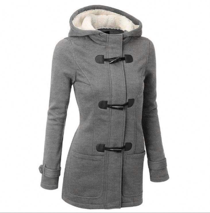 Plus Size Winter Jacket Women Hooded Winter Coat Fashion Autumn Women Parka Horn Button Coats
