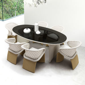 Quality Assurance waterproof leisure garden dining restaurant coffee outdoor rattan table and chair set
