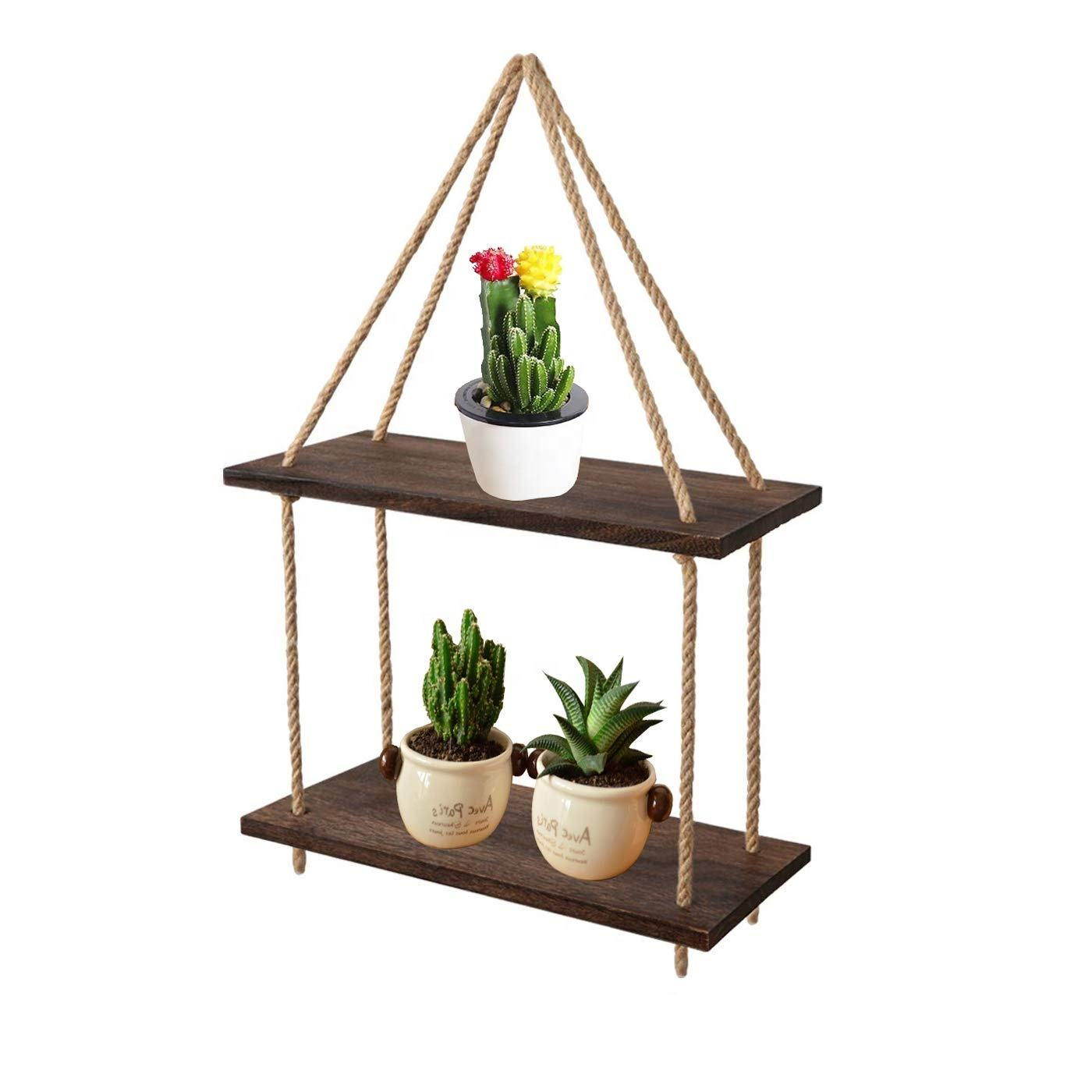 decoration display of country house shelf, suitable for garden, outdoor 2 floors swing rope shelves floating wall