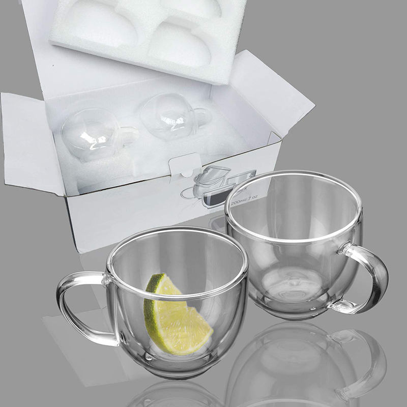 Double Wall Glass Cup With Tea Coffee