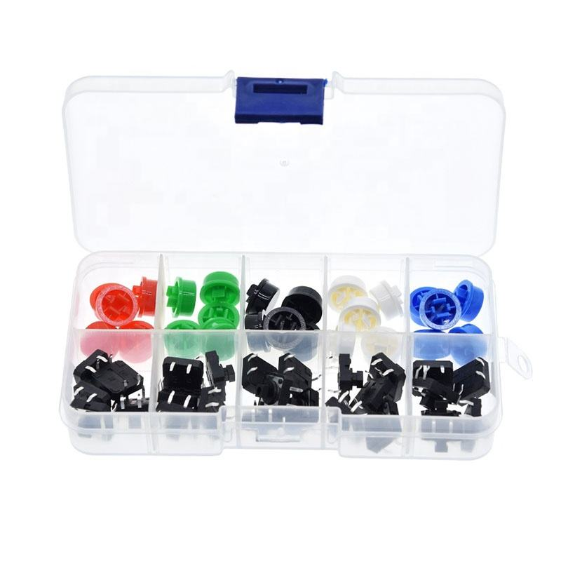 25PCS Tactile Push Button Switch Momentary 12*12*7.3MM Micro switch button + 25PCS Tact Cap(5 colors) Switch