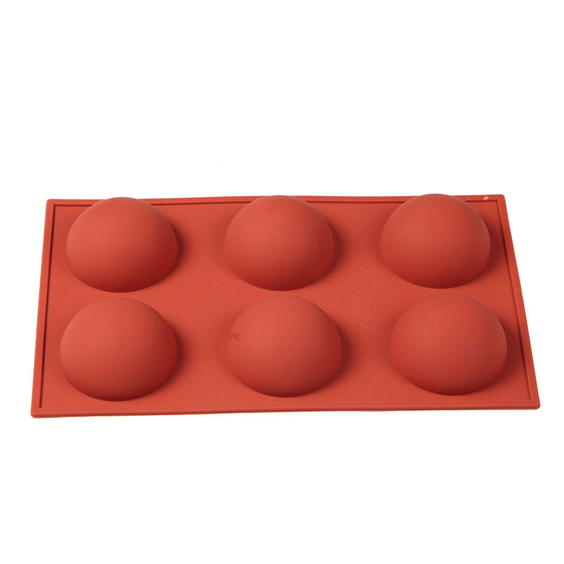 6 Holes Silicone Bomb Half Circle Baking Mold For Chocolate, Cake, Jelly, Pudding, Handmade Soap, Round Shape