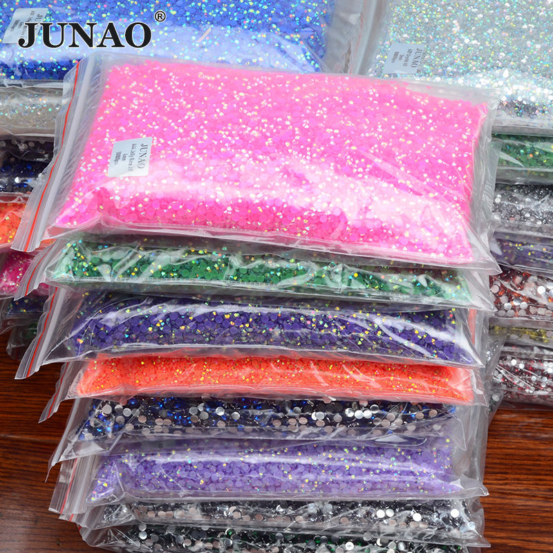 Wholesale 2mm 3mm 4mm 5mm 6mm Round Crystal Stones Non Hot Fix Strass Applique Jelly Rose AB Flatback Resin Rhinestone