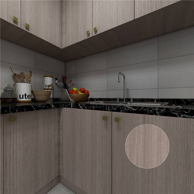 New design wood grain pvc film kitchen cabinet for wooden door