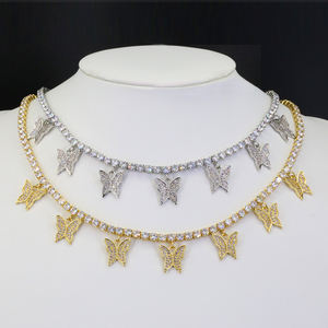 2020 Trendy Hip Hop Iced Out Charm Tennis Chain Bling Diamond Butterfly Necklace