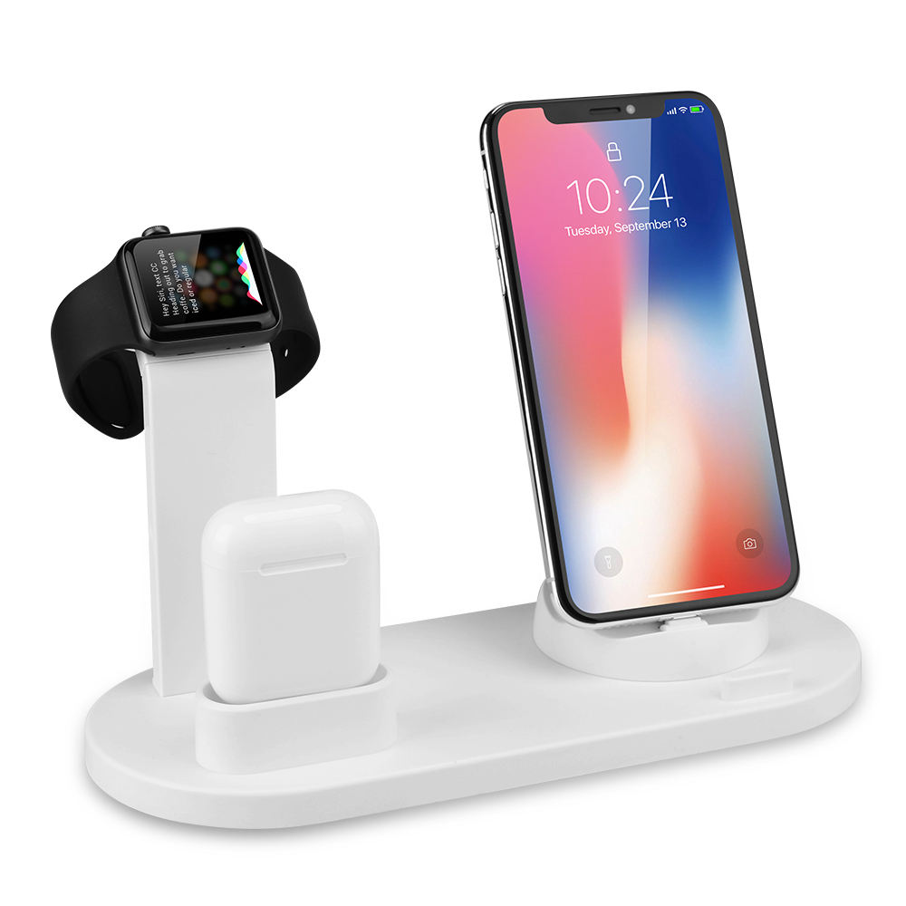 2020 New Products 4 in 1 Mobile Phone Charging Dock Stand 10W Qi Fast Wireless Charger Station für Airpods für Apple Watch