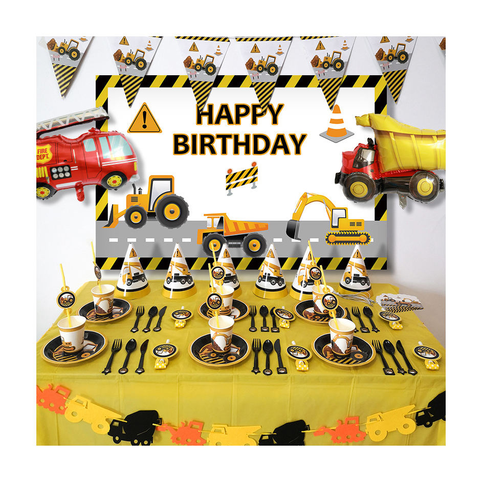2020 New Arrival Orange Construction Party Supplies Themed Car Shape Party Decoration Sets For Boy Birthday Party Pack