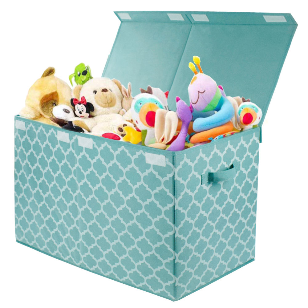 Folding Toy Trunk Organizer Chest Bin with Flip-Top Lid Kids Collapsible Storage Decorative Holders for Nursery Playroom Closet