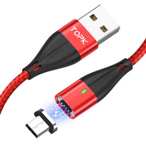 Free Shipping TOPK AM61 2M LED Magnetic Micro USB Charging Cable