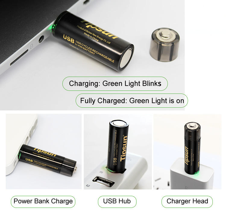 USB Rechargeable 1.5v Li-ion Battery Cell AA Lithium Batteries