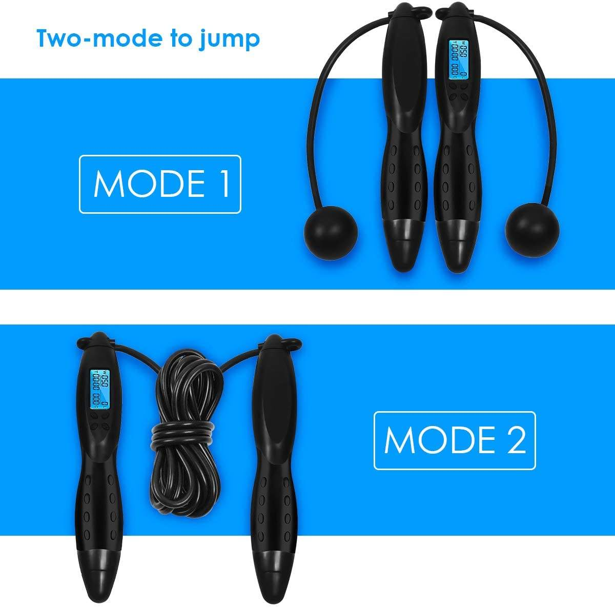 Hot Sale Unisex 1 Pair Gym Fitness Cordless Skipping Rope Burning Calorie Jumping Rope Indoor Wireless Jump Rope Stock