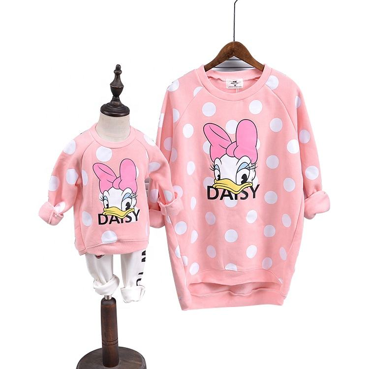 Hot cartoon dot print women sweatshirt mother and daughter pullover girl children daisy clothes family outfits matching clothing