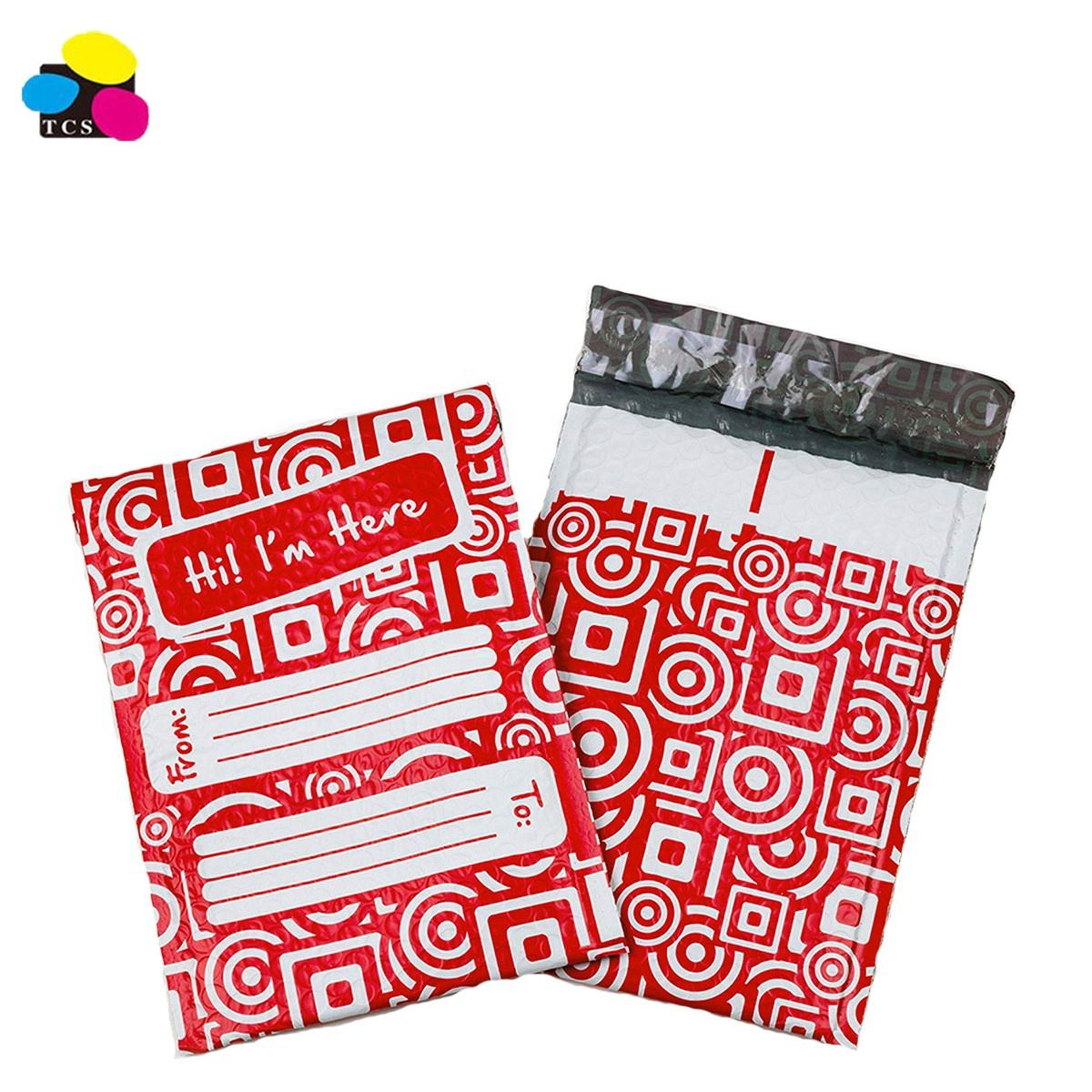 Shanghai Supplier 6x10 Inches Poly Bubble Mailers Pack of 25 Red and White Mailers Padded Envelopes