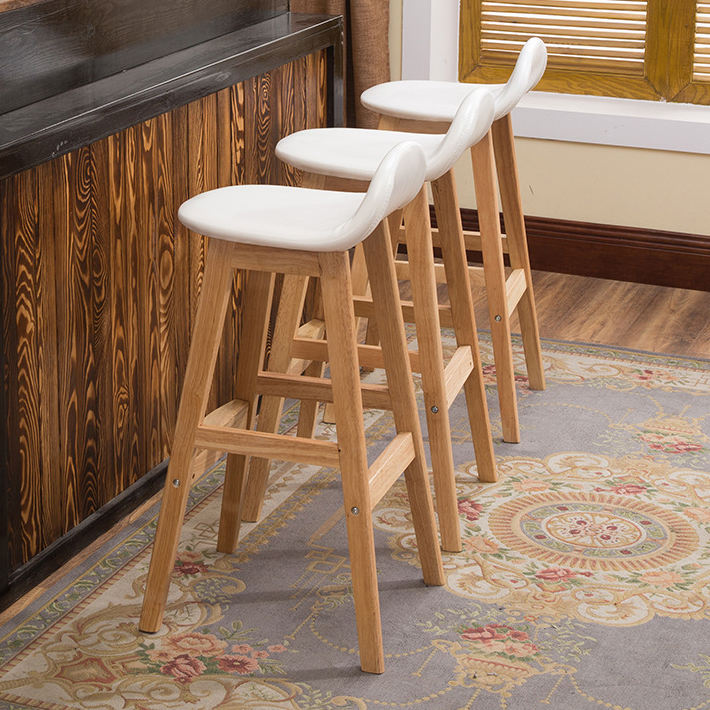 Bar Stool Nordic Furniture Cheap Supplier Rustic Classic High Kitchen Counter Chair Modern Fabric Wooden Bar Stool With Back