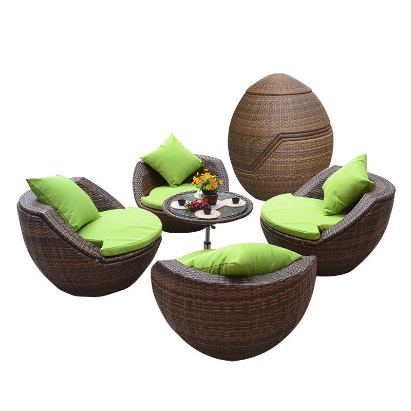 Mojia Nordic Outdoor Furniture Beach Leisure Rattan Sofa Table and Chair Garden Balcony Stackable Ball Shape Outdoor Seater