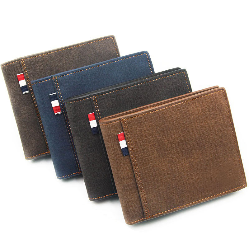 Stylish PU Leather Wallet Men Simple Casual Short Purse Small Clutch Male Wallet