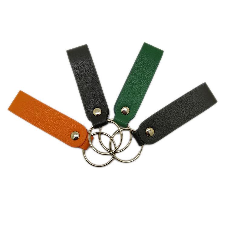 Precio de fábrica en blanco de tipos de cuero lazo <span class=keywords><strong>clave</strong></span> cadena con el embalaje de la caja de regalo