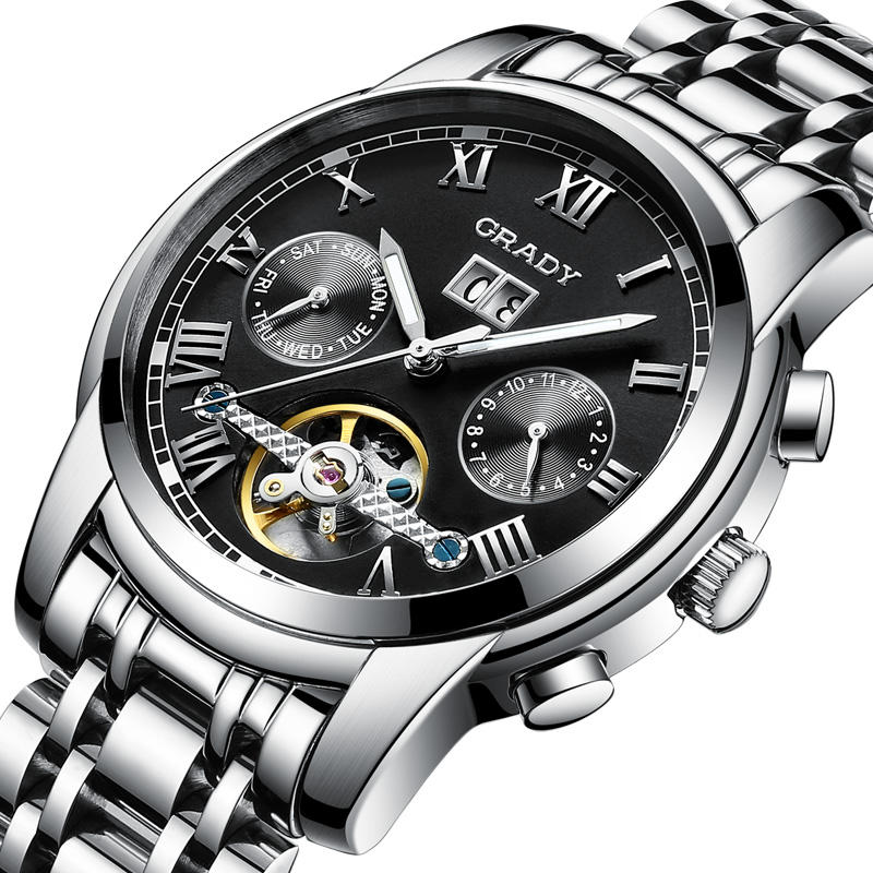 Multifunction Mechanical Watch Waterproof Yaqi Chronograph Skeleton Watch Black
