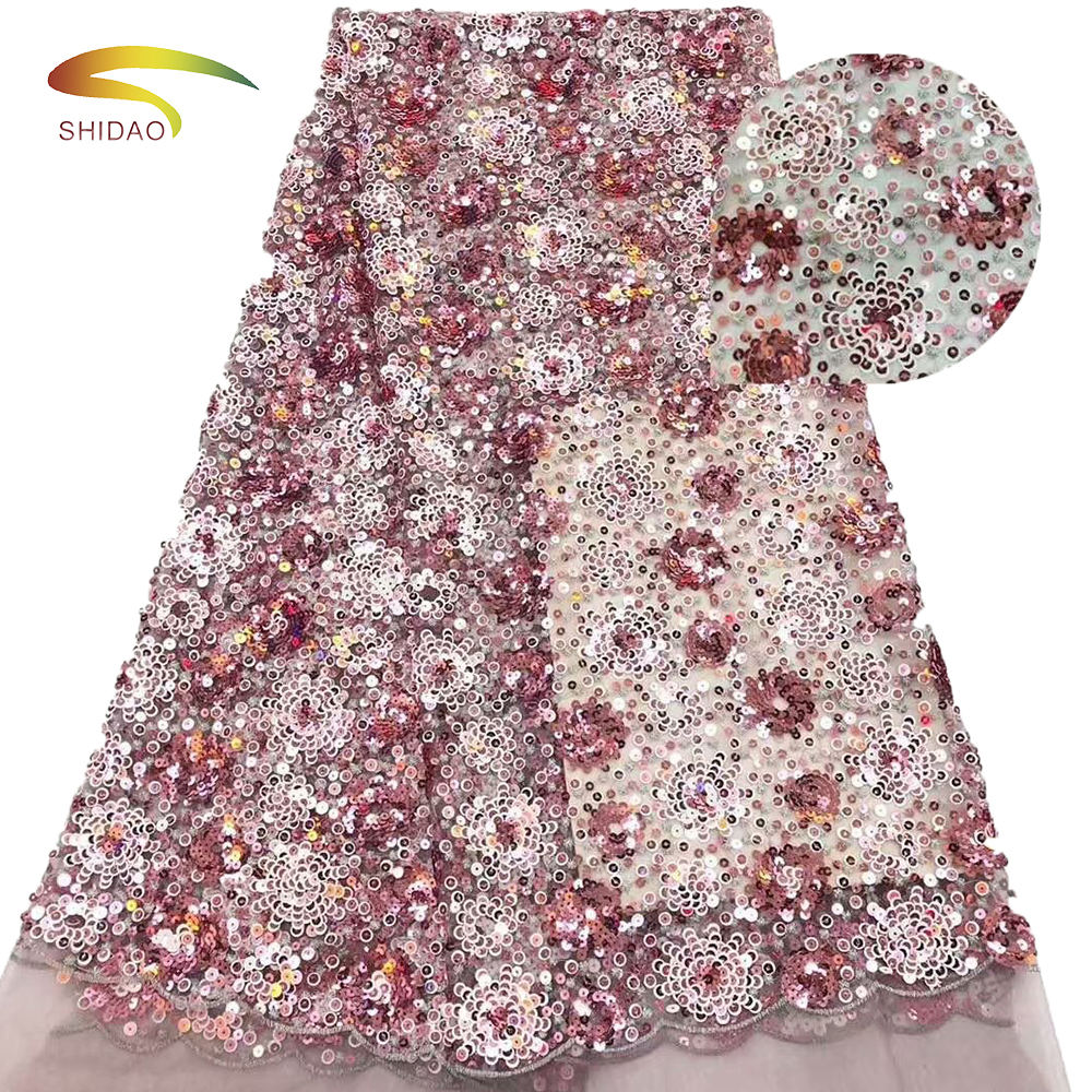 french swiss 3d flower tulle lace wedding dress fabric