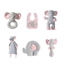 Baby plush toy 6 month Custom Cute 6 PACK Plush Elephant Bunny Teddy bear animal Comforter Baby Rattle Pillow teething soft toys
