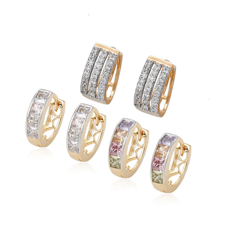 Xuping Jewelry 92308 classic design color stone CZ gold plated mini huggie earring for women