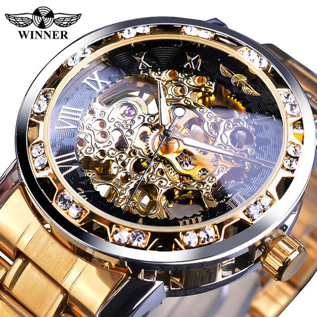 Winner Men Golden Watches Classic Rhinestone Clock Roman Analog Male Skeleton Clocks Mechanical Stainless Steel Luminous Watch