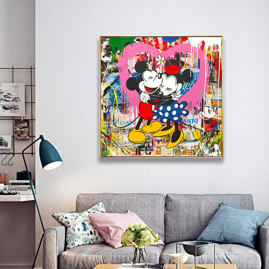 Street Wall Graffiti Art Canvas Painting Abstract Banksy Art Prints Cartoon Poster Modern Living Room Wall Picture Pop Art Decor