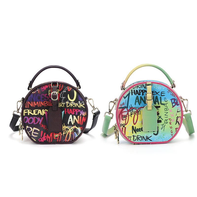 MAIDUDU 2020 new fashion bags ladies handbags Round Crossbody Cute Leather Bag Graffiti Bag Purse free shipping in GuangZhou