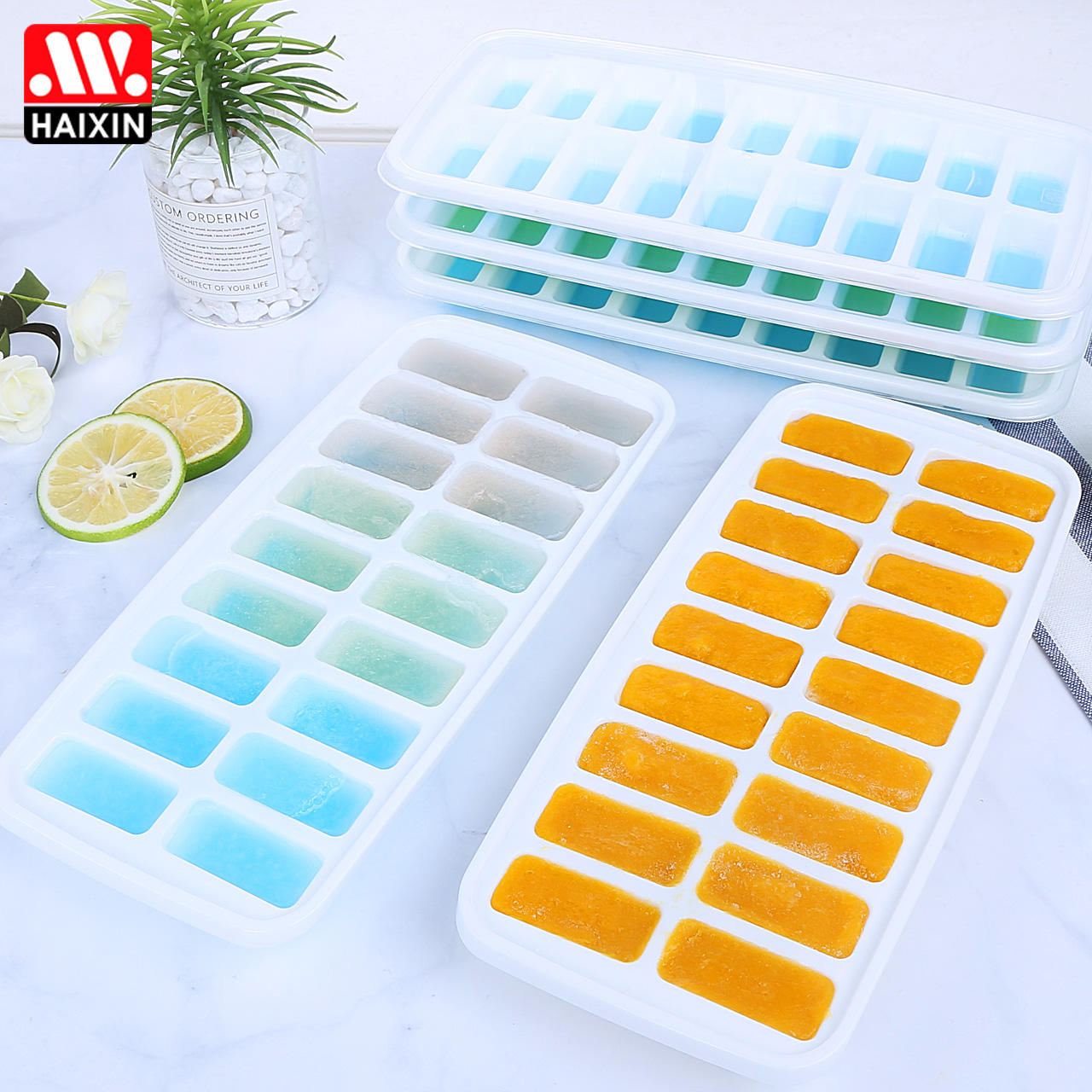 Haixin Best sale BPA free ice cube tray easy release ice cube holder with lid in Amazon