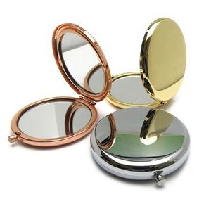 Portable Round Folded Compact Mirrors Rose Gold Silver Pocket Mirror Making Up for Personalized Gift