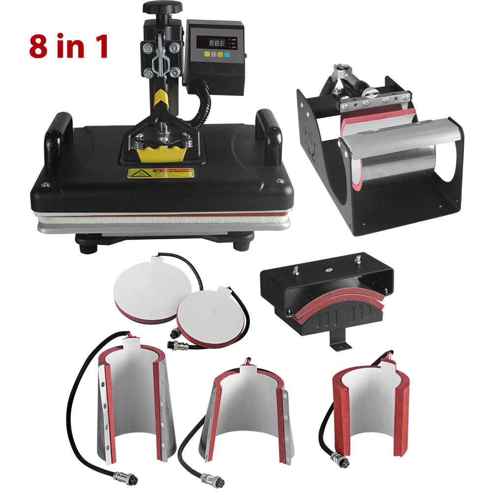 8 in 1 Digital Heat Press Machine Multifunctional Transfer Sublimation (29X38cm) Heat Platen