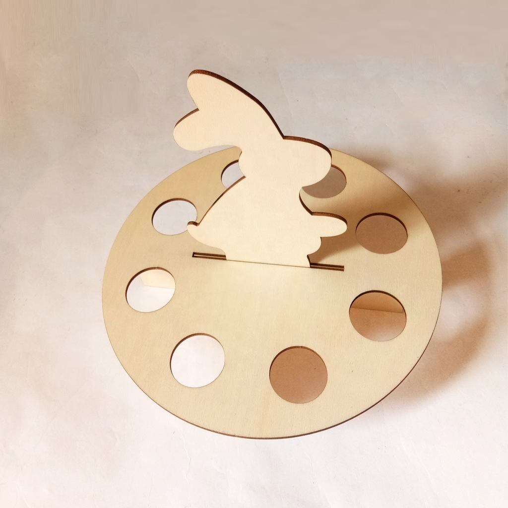 Easter Rabbit 8 Egg Holder Wooden Chick Shape Easter Egg Frame Vests Storage Holder Home Decoration Egg Tray