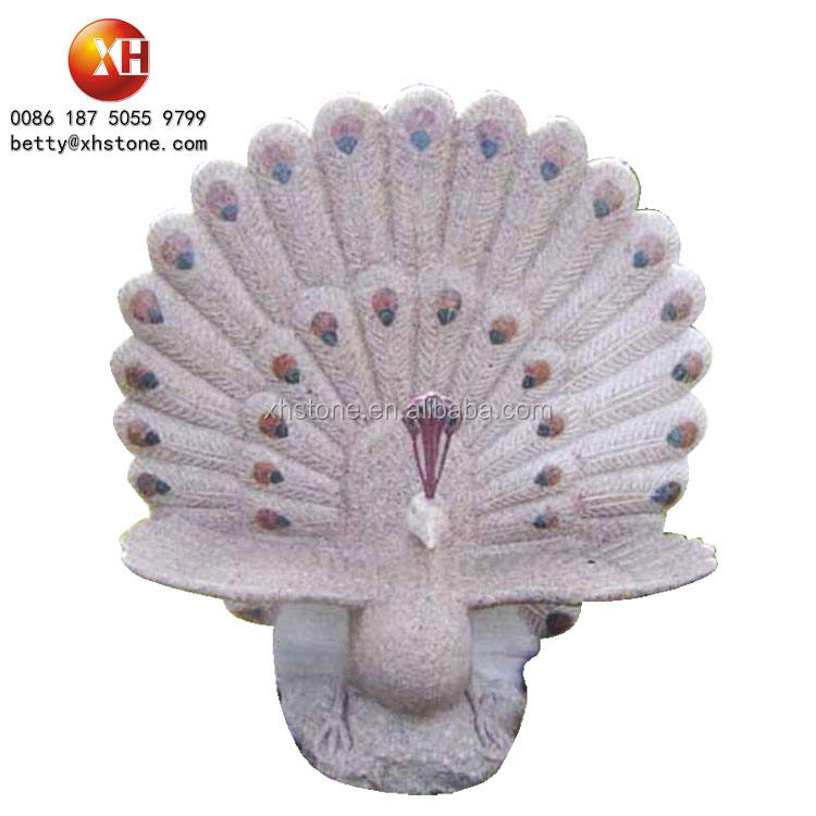 Wholesale Peacock Stone Animal Carving Sculpture For Garden Stone Products Design High 110cm