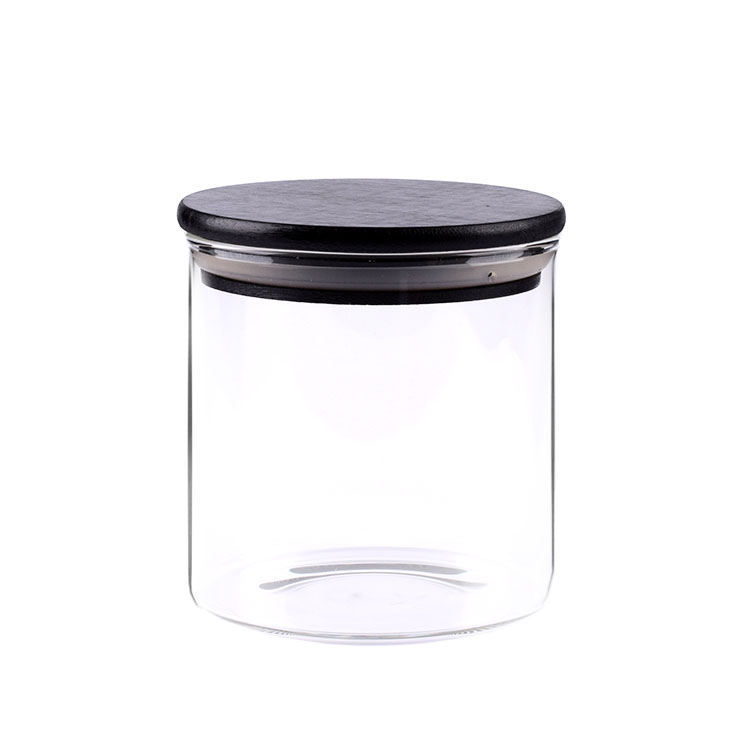 2020v Sealed food tank glass jar with black bamboo lid