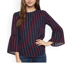 2019 Hot Selling Ladies Clothing Striped Round Neck Flare Sleeves Women Blouses Tops
